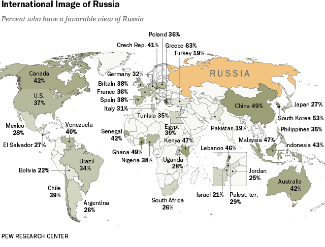 Russia Global Map.Russia Favorability Map Pew Research Center