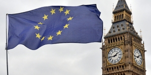 A European Union flag flies in front of the Houses of Parliament in London on March 29, the day European Council President Donald Tusk was formally notified of Britain's intention to leave the EU. (Victoria Jones/PA Images via Getty Images)