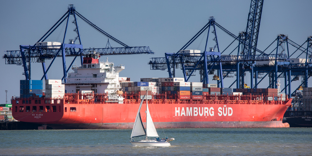 A German container ship at the UK's Port of Felixstowe, near Ipswich. (Tim Graham/Getty Images)